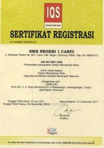 Sertifikat IQS SMKN 1 Cariu Kabupaten Bogro, Jawa Barat