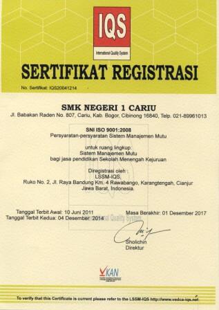 sertifikat iqs smkn 1 cariu